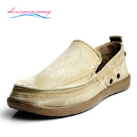 2014 classic slip on brand canvas men's solid boat shoes summer, sneakers size 39 40 41 42 43 44 (Light Gray, Dark Blue, Khaki)