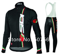 2014 New Sidi  Retail Selling Winter Fleece Long Sleeve Bicycle Jersey+Bib Pant/Cycle Clothes Made From Lycra And Polyester