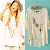 2014 Newest Summer European&American Women Running Horse Prints Half Sleeve Cotton Tee,Ladies Casual Loose Top/T-shirt  t22