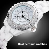 2014 New Luxury Brand Beautiful Ceramic rhinestone Wristwatches Women Fashion Quartz Dress Watches Casual Clock relogio feminino