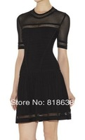 black short sleeves  A line celebrity dress bandage dresses 2014 new arrival party dress evening dress wholeslae dropshipping