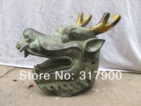 China Folk old Bronze Carved Dragon Head Animal statue