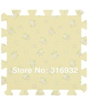 WM018 High qualiity 9pcs/lot light beige yellow flower eva puzzle foam children's baby game play mat for kids