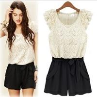 Big Sales 2014 fashion new lace pants shorts Korean conjoined pants female belt jumpsuit casual dress woman clothes sets