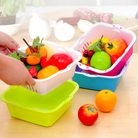 Fashion colorful at home double layer fruit and vegetable sieve drop water basket fruit drain basket e950
