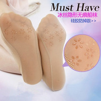 Women's invisible sock slippers/ ice material sock slippers with special silicone anti-slip dot comfortable sock slippers