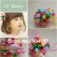 A set of One Hair Clip and One Hair Band  Ribbon Fabric Flower Grosgrain Ribbon Kids Hairwear Part Multi Colors Free Shipping