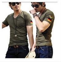 Men brand T-Shirts man printing tshirts fashion V-neck t shirt plus size 5 size M-XXXL 9 Color Free Shipping