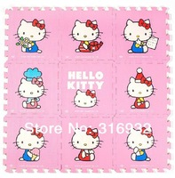 WM018 High qualiity 9pcs/lot coverage film PINK colorful Hello Kitty eva puzzle foam children's baby game play mat for kids