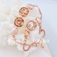 New 2014 Fashion Rhinestone Charms Crystal Shine luxurious Jewelry Rose Gold Bracelets for Women B1850