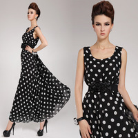 Fashion Elegant 2014 Summer Women's Sexy Maxi Long Polka Dot Casual Sleeveless Chiffon Vintage Evening Dress (with belt)