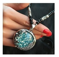 A364 Noble blue crystal glass beads leaves chain pendant necklace restoring ancient ways women  delivery free of charge