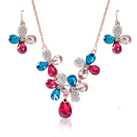 2014 Spring New Design Rose Gold Plated Multicolor Crystal & Rhinestone Flower Alloy Necklace Set Luxury Jewelry NK004EK004