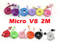 500pcs/lot, 2M Flat Noodle Style Micro USB Data Charger Adapter Cable For Samsung Galaxy S4 HTC Sony BlackBerry Nokia