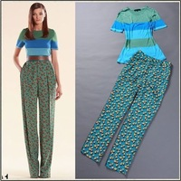 2014 spring and summer women's fashion brief stripe color block knitted top star print trousers set