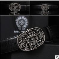 genuine leather belt for men vintage strap for jeans fashion Chrome buckle belt high quality  cowskin