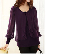 Free shipping loose plus size long lantern sleeve women chiffon shirt,spring 2014 new fashion novelty woman tops clothes on sale