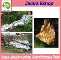 Compact Lightweight Aluminized Windproof Emergency Blanket Waterproof Body Wrap Survival Sheet for Outdoor 210 x 130cm FREE SHIP