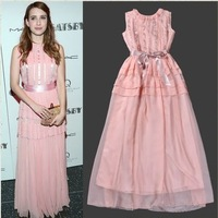 2014 spring and summer women's fashion sweet pink vest full dress formal long dress