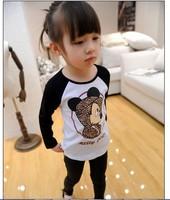 2014 New Girls Leopard Mickey Mouse T-shirts Fashion Long-sleeve T-shirt  LG5204CH