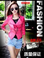 Spring 2014 Korean version of the new women's leather female short slim slim women Pu small coat day rose red