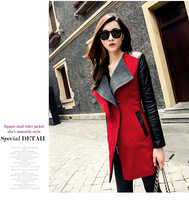 2014 Korean new spring splicing wool coat women slim long coat wolen coat jacket long outwears