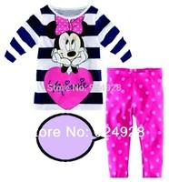 2014 fashion girls clothing set mickey mouse kids sleepwear baby pajama sets cartoon children set retail 2-7 years free shipping