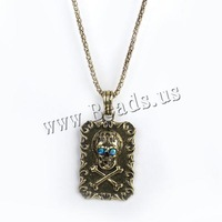 Free shipping!!!Zinc Alloy Jewelry Necklace,2013 Jewelry, with iron chain, Rectangle, antique bronze color plated