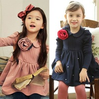 5pcs/lot new 2014 children girls long sleeve flower dress for spring autumn