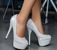 11/14CM Prom Heels Wedding Shoes Women Red Bottom High Heels Platforms Rhinestone Pumps Size 33-42 9 Colors Free Shipping