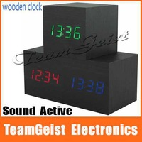 Modern Sound Activated Digital Wood LED 3 Alarm Clock Wooden Thermometer Square Red/Green/Blue Light LED Display table Clock