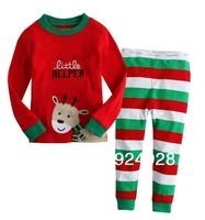 2014 Fashion Hot sell 100% cotton baby pajamas Christmas deer kids clothes set 2 piece set long sleeve + pants, Free shipping