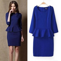 2014 New Fashion Women's Summer Tight O-Neck Ruffle Half Sleeve Mini Brief dress Natural Casual Ruffles One-Piece Dresses