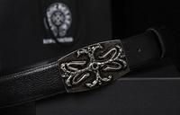 2014 brand designer black Chrome buckle cowhide belts for men genuine leather belt Men's belts