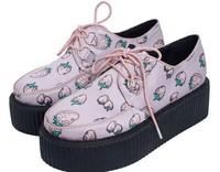 Strawberry Harajuku Hot Fashion Creepers Pink Sweet Lace up Boat Shoes British Goth Punk Shoes Women Flats Summer Autumn Z101