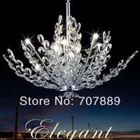 Modern Crystal Chandelier Stainless steel Tree Pendant Lamp Restaurant Bedroom Decorative Lighting Fixture Free shipping
