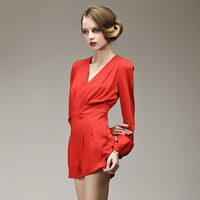 A Fashion spring and summer the vitality of positive red sexy V-neck lantern sleeve jumpsuit shorts long-sleeve jumpsuit 9701