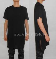 men Long Zip T shirt oversized Extend drop t shirt Side gold Zipper Tee