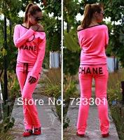 4colors!!!spring wear new style jogging tracksuit girl's clothes fashion set sport suit T-shirt + pants women's sports sets