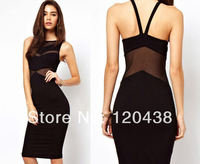 New HOT SALE Off Shoulder Women Fashion Party Mini Dress Perspective Black Sexy Evening Dress Backless Dress