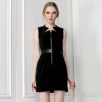 A Sexy patchwork cutout geometry neckline black short skirt fashion summer one-piece dress strap 9795