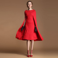 A Fashion fashion vintage cloak fashion are red one-piece dress slit neckline cape style spring medium skirt 9890