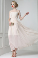 A Elegant elegant nude lace patchwork expansion bottom chiffon full dress party dress romantic one-piece dress 9825