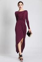 A Irregular pleated elegant placketing maut long-sleeve dress maxi modal one-piece dress 9607