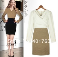 2014 New women's dress Fashion long sleeve Splice color dress skirts Temperament Slim Profession Long sleeve OL dress Popular