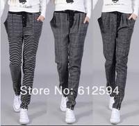 New women/lady plaid stripe harem pants buttons front elastic waist pockets plus size vintage casual trousers joggings street