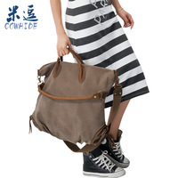 FREE SHIPPING Meters 2013 pleated vintage canvas casual big bag fashion handbag one shoulder cross-body bag trend of