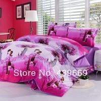 Winter thermal bedding velvet 4 slanting stripe print quality short plush piece set