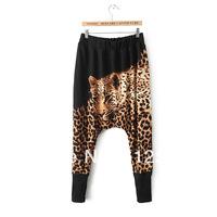 New women/lady harem pants tiger cheetah american flag horse print hip hop drop crotch dance pants loose palazzo disco baggy