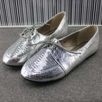 New 2014  vintage british style paillette flat single shoes front strap flat heel round toe fashion women's shoes